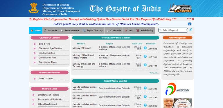 Gazette notification in delhi